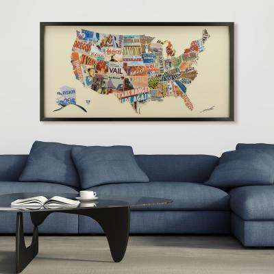 "25 in. x 48 in. ""Across America"" Dimensional Collage Framed Graphic Art Under Glass Wall Art"