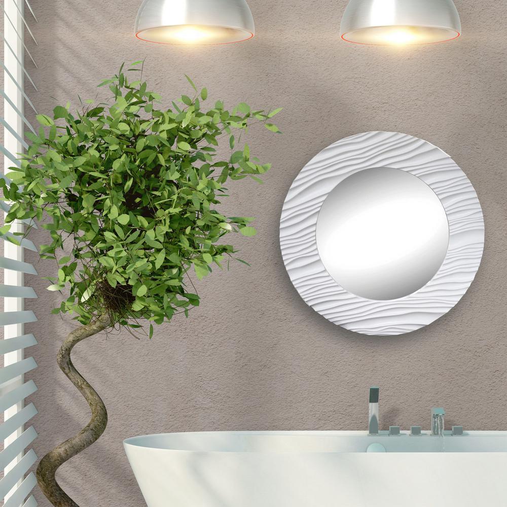 Round White Textured Decorative Mirror Os227 The Home Depot