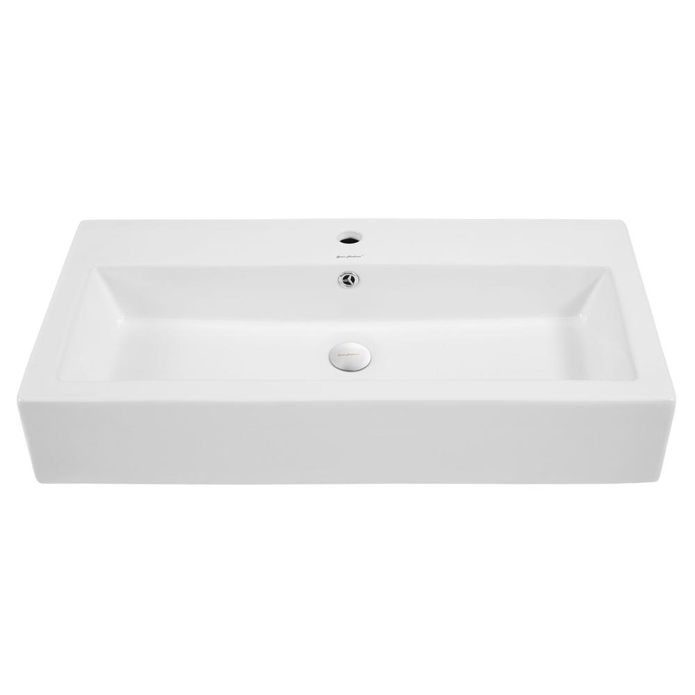 Swiss madison voltaire wide rectangle vessel sink in white