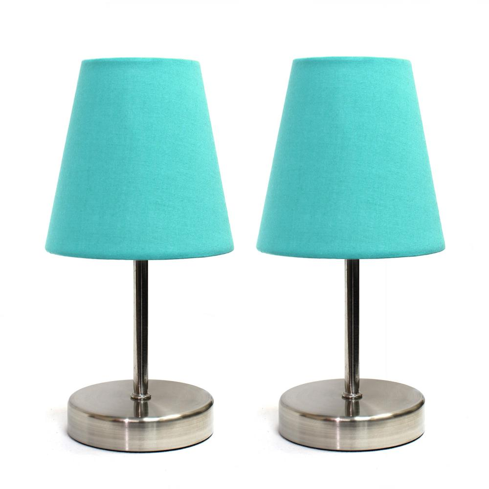 Sand Nickel Mini Basic 10.5 in. Table Lamp with Blue Fabric Shade (2-Pack Set)