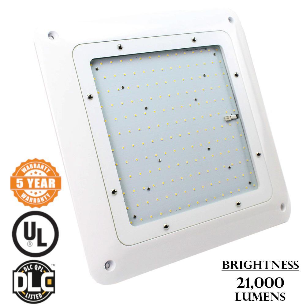 150-Watt White Integrated LED Flush Mount Canopy Light
