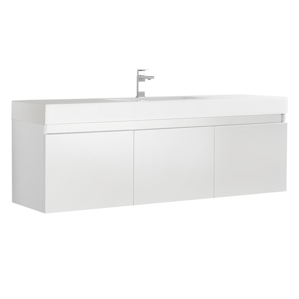 Fresca Mezzo 60 in. Modern Wall Hung Bath Vanity in White with Vanity Top in White with White Basin