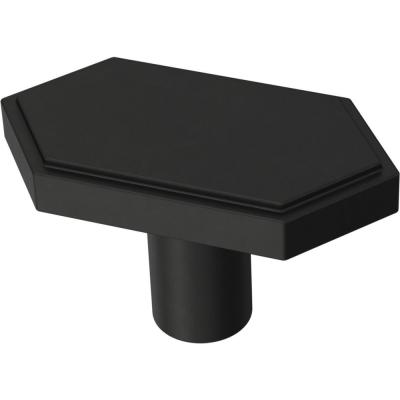 Elongated Hex 1-3/4 in. (44 mm) Matte Black Cabinet Knob