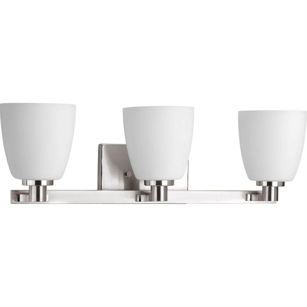 Progress Lighting Fleet Collection 3-Light Brushed Nickel Bathroom Vanity Light with Glass Shades
