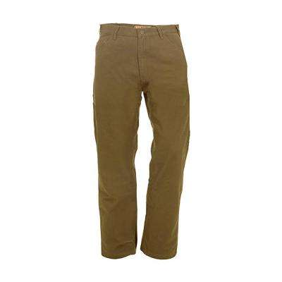 Men's 58 in. x 32 in. Timber Khaki 100% Cotton Washed Duck Carpenter Pants