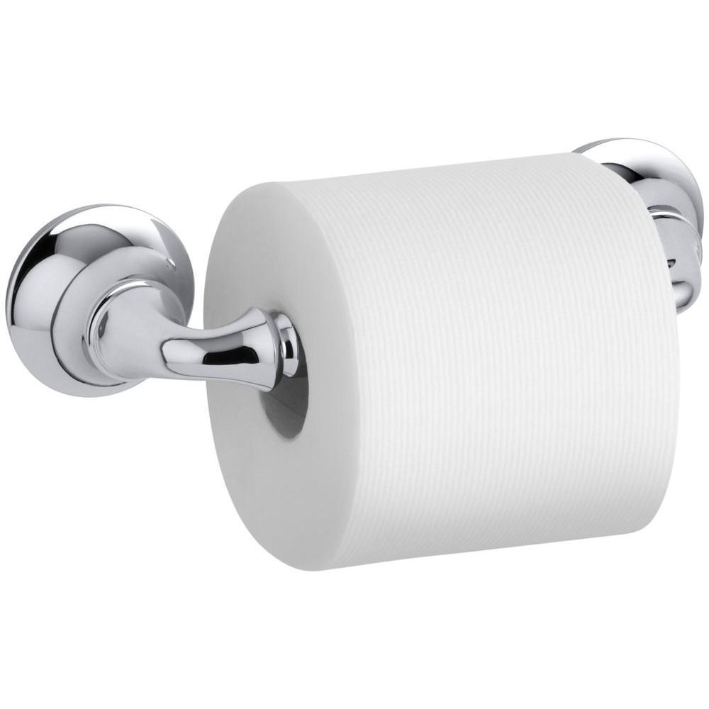 Kohler Forte Sculpted Wall Mount Double Post Toilet Paper Holder In Polished Chrome