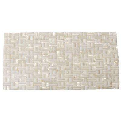 Mother of Pearl White 3D Shell Mosaic Tile - 3 in. x 6 in. Tile Sample