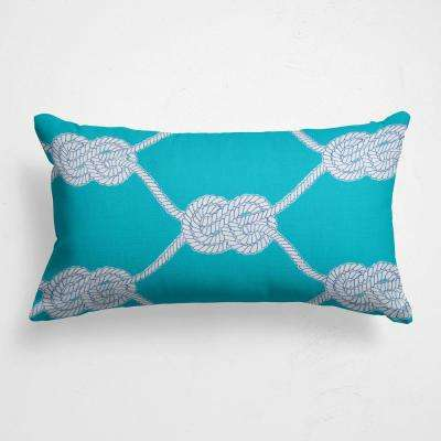 Let's Get Nauti  Aqua Outdoor Lumbar Throw Pillow
