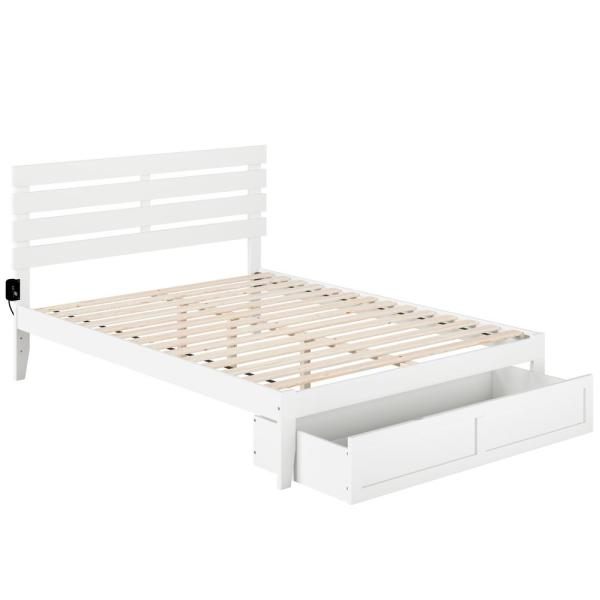 Oxford White Queen Bed with Foot Drawer and USB Turbo Charger