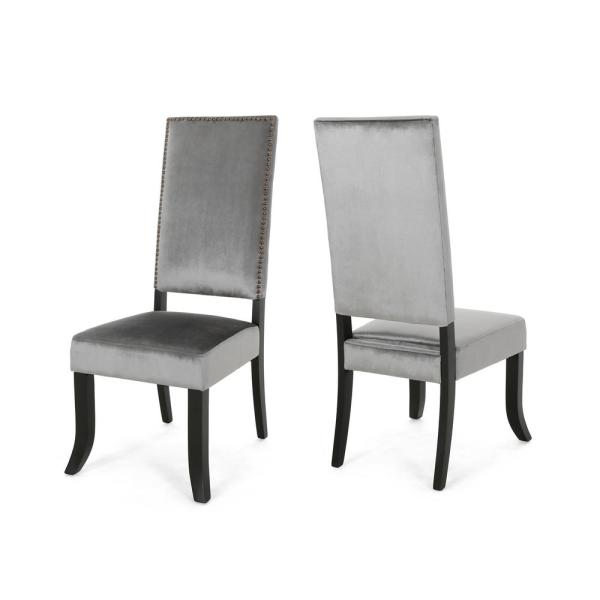 Noble House Coquille Glam Smoke Velvet High-Back Dining Chairs with Nailhead