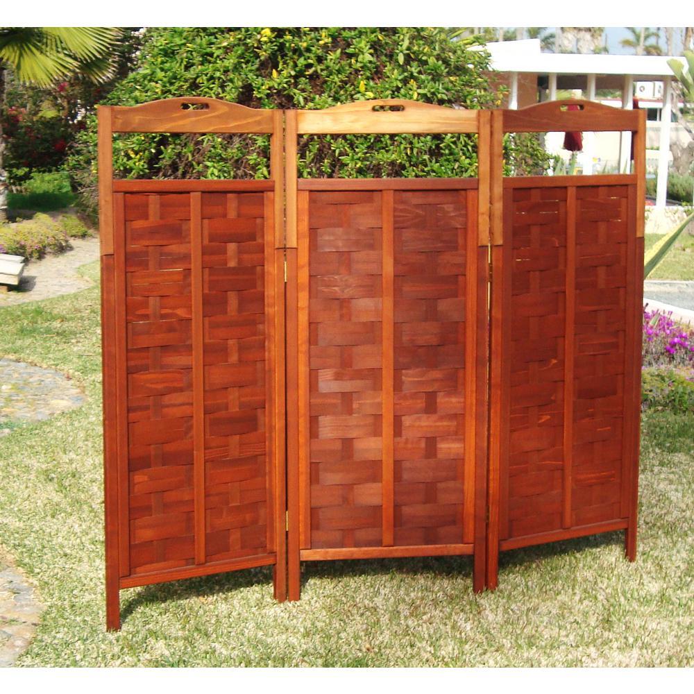 Lattice Super Deck Redwood 3 Panel Room Divider