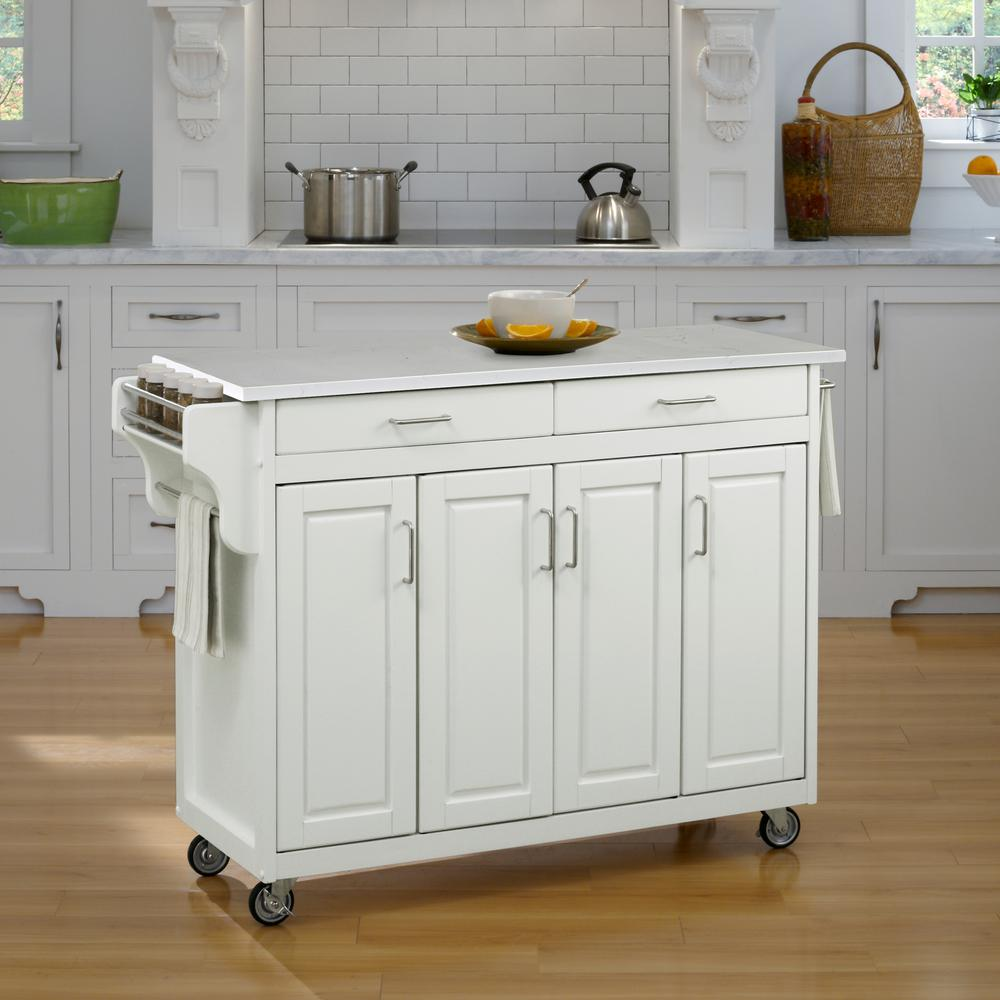 Home Styles Create-a-Cart White Kitchen Cart With Quartz Top-9200 ...