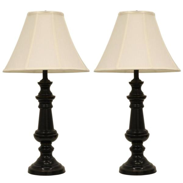 Touch Control 32 in. Bronze Table Lamp with Faux Silk Shade