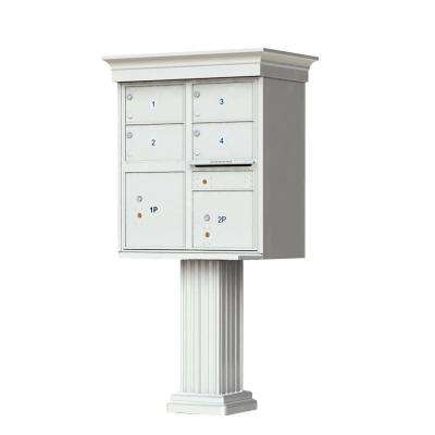 1570 Series 4 Large Mailboxes, 1 Outgoing, 2 Parcel Lockers, Vital Cluster Box Unit with Vogue Traditional Accessories