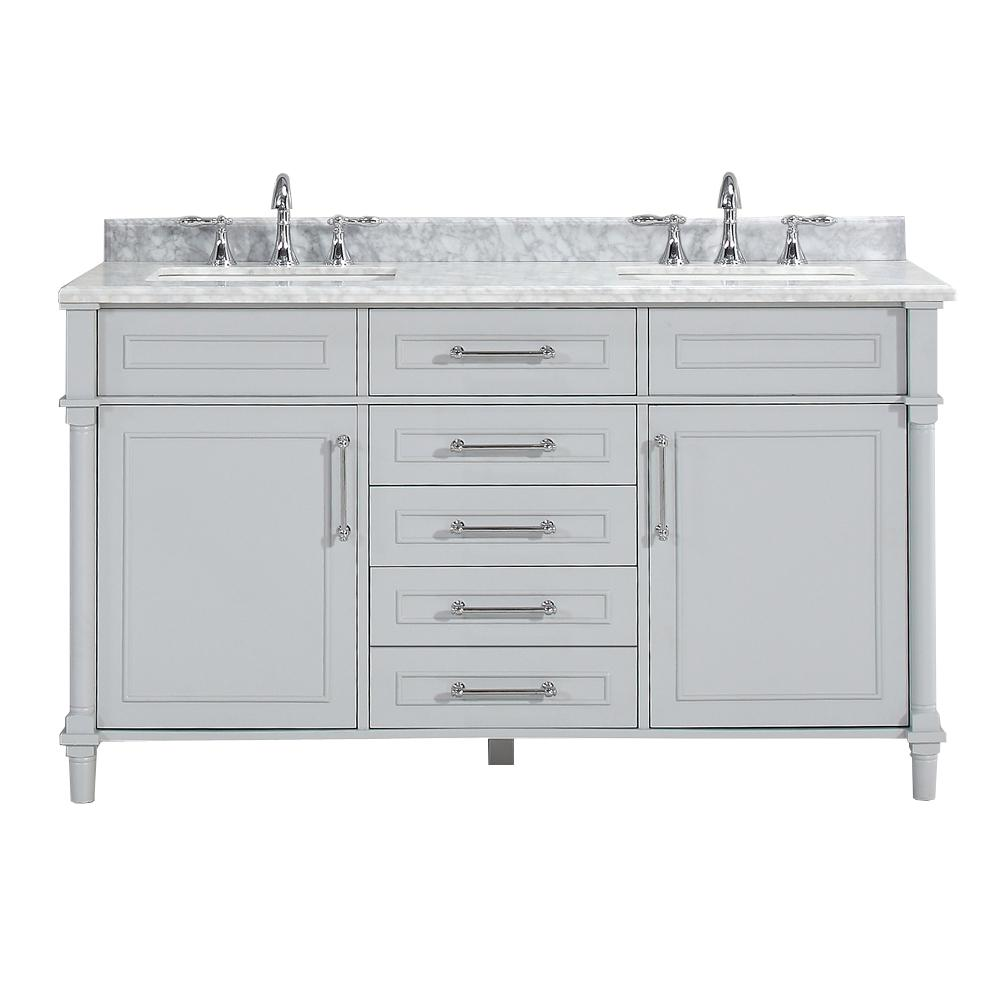W Open Shelf Double Vanity in Dove Grey with Natural Marble Vanity Top in  White with White Basin-9784600270 - The Home Depot