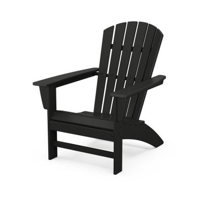 Grant Park Traditional Curveback Black Plastic Outdoor Patio Adirondack Chair