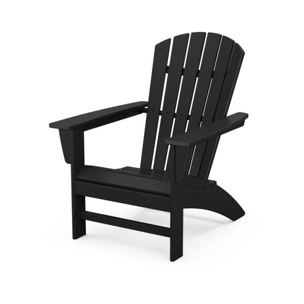 Grant ParkTraditional Curveback Black Plastic Outdoor Patio Adirondack Chair