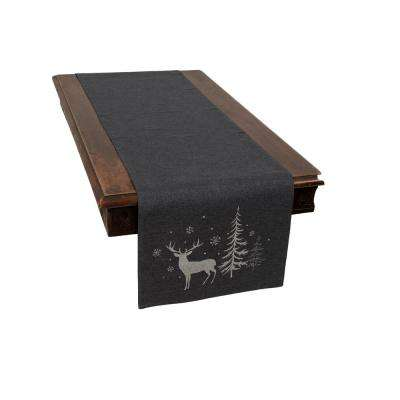 0.1 in. H x 15 in. W x 70 in. D Deer in Snowing Forest Double Layer Christmas Table Runner in Dark Gray