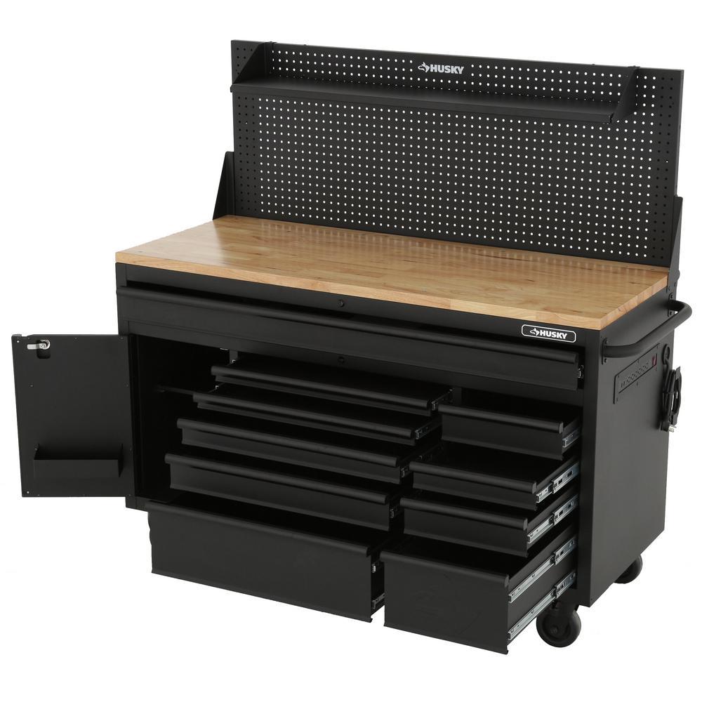 Heavy-Duty 61 in. W 10-Drawer 1-Door, Deep Tool Chest Mobile Workbench in Matte Black w/ Hardwood Top, Pegboard & Shelf