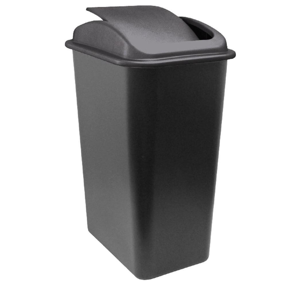 41 Qt. Black Wastebasket with Universal Lid