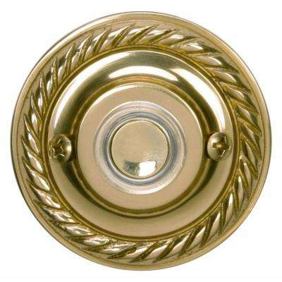 Wired Polished Brass Finish Round Push Button