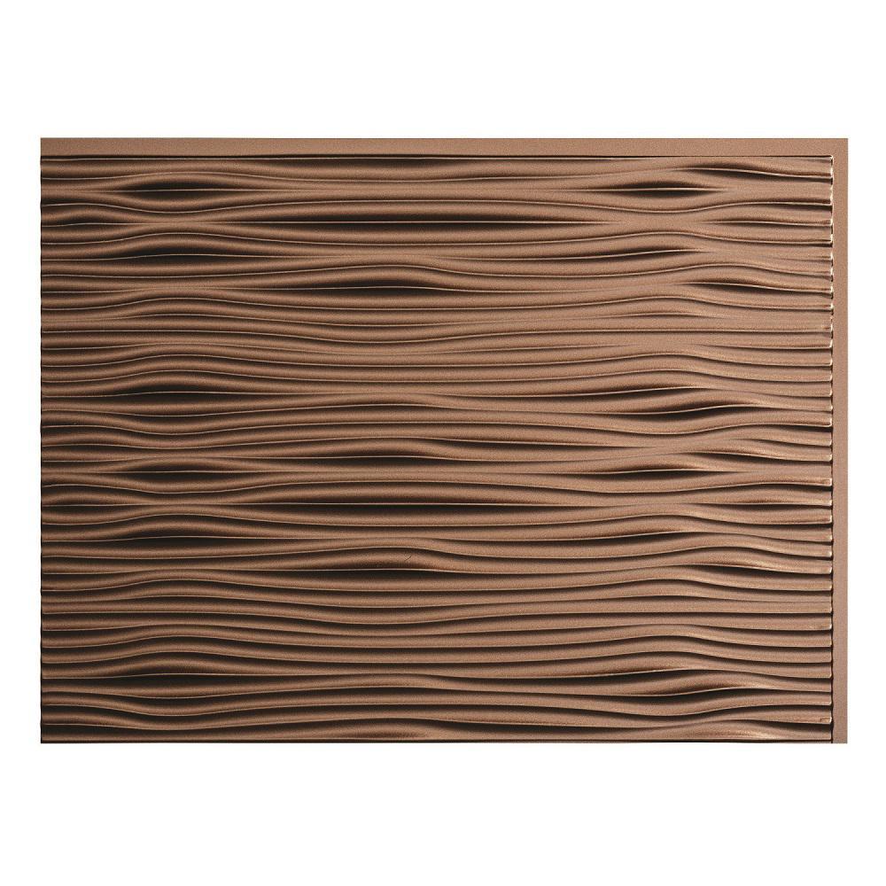 Fasade 24 in x 18 in waves pvc decorative tile backsplash in waves pvc decorative tile backsplash in argent bronze doublecrazyfo Gallery