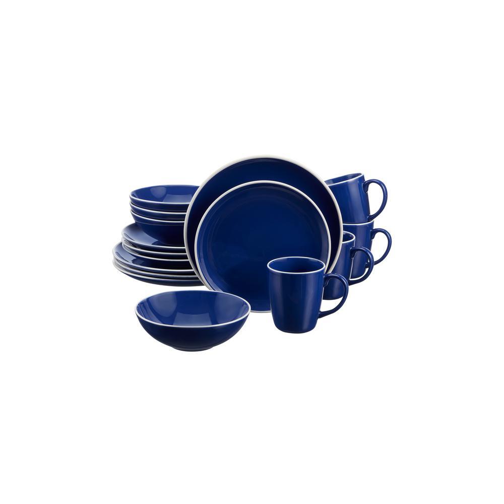 Lisbon 16-Piece Twilight Blue Stoneware Dinnerware Set (Service for 4)