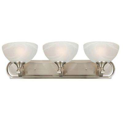 Glacier Point Collection 3-Light Satin Nickel Bathroom Vanity Light with Ivory Cloud Glass Shade