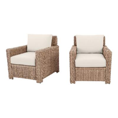 Laguna Point Natural Tan Wicker Outdoor Patio Stationary Lounge Chair with CushionGuard Almond Tan Cushions (2-Pack)