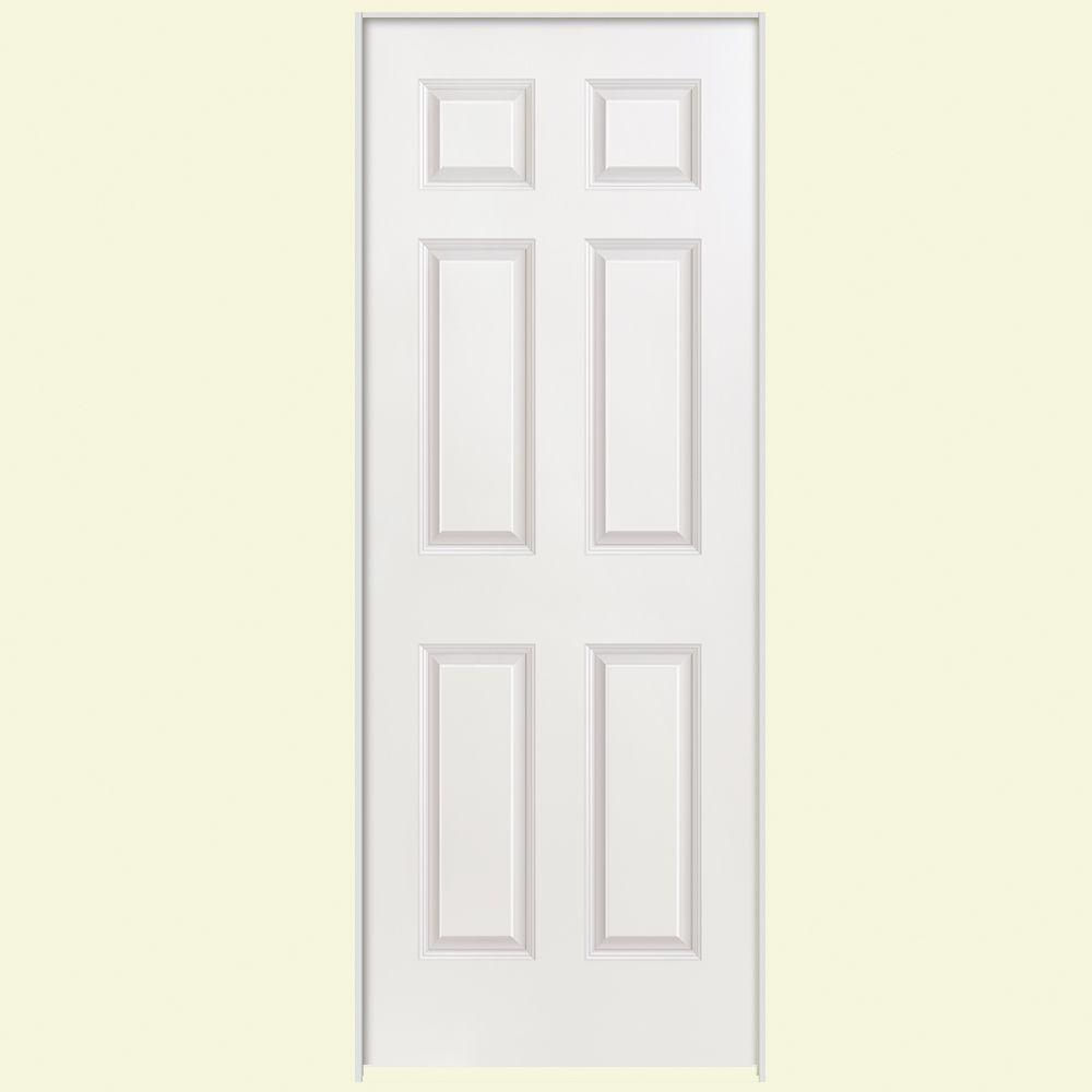 6 Panel Right Handed Hollow Core Smooth Primed Composite Single Prehung Interior Door