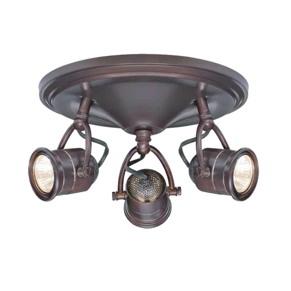 2054458a236 Hampton Bay 3-Light Antique Bronze Round-Base Pinhole Ceiling Fixture