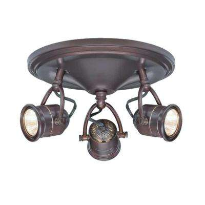 3-Light Antique Bronze Round-Base Pinhole Ceiling Fixture