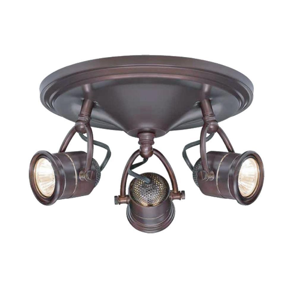3-Light Antique Bronze Round-Base Pinhole Ceiling Fixture  sc 1 st  Home Depot & Hampton Bay - Canopy - Track Lighting - Lighting - The Home Depot