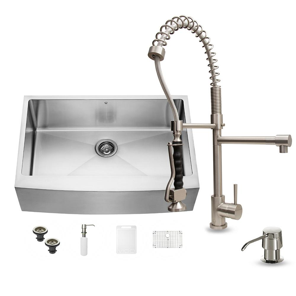 All-in-One Farmhouse Apron Front 33 in. 0-Hole Single Bowl Kitchen Sink