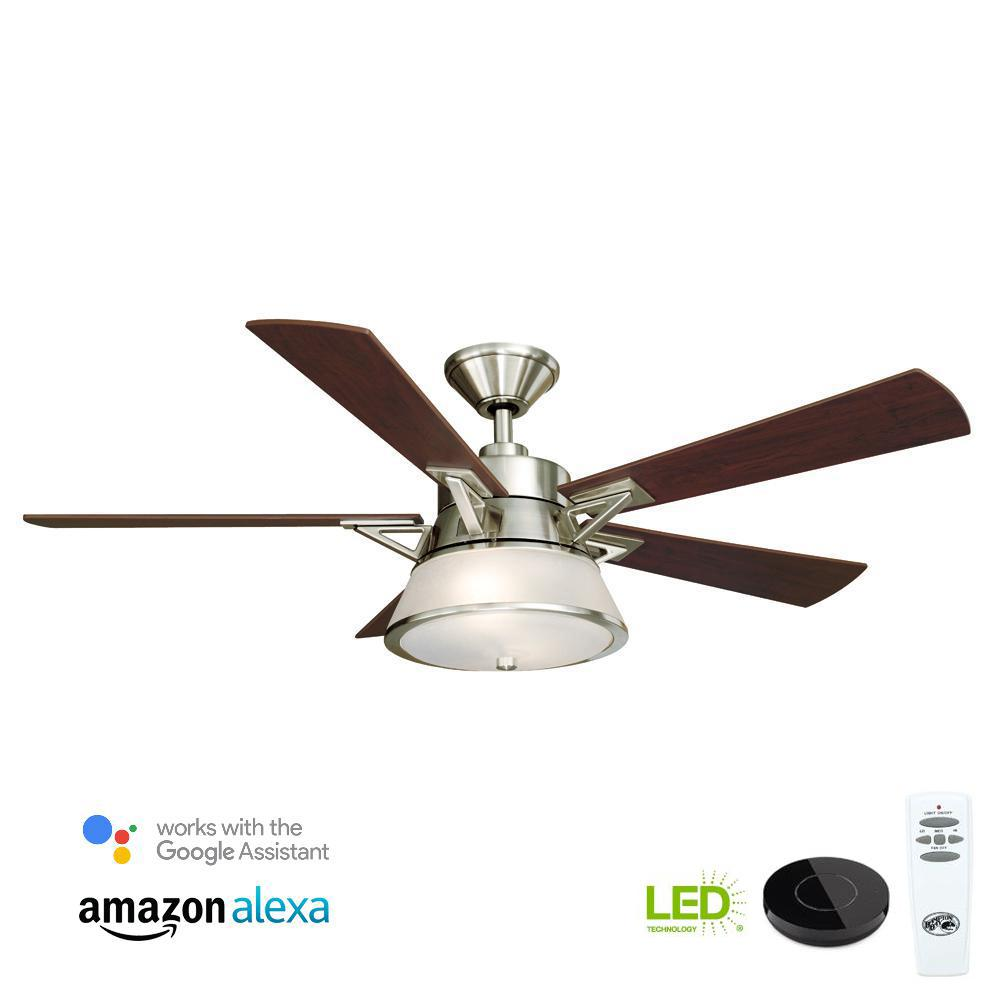 Marlowe 52 in. LED Brushed Nickel Ceiling Fan with Light Kit