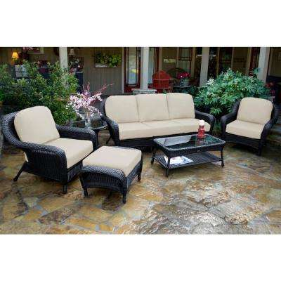 Sea Pines Tortoise 6-Piece Wicker Patio Deep Seating Set with Sunbrella Canvas Cushions