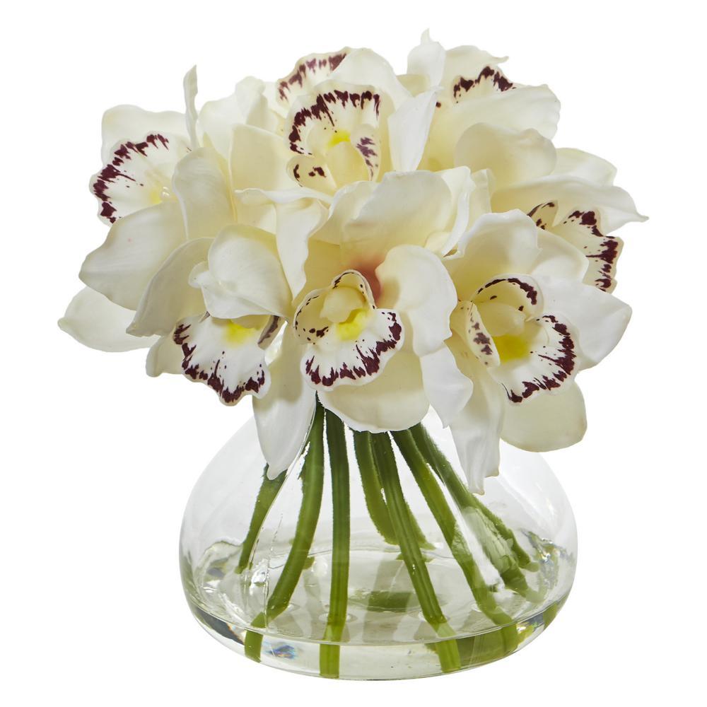 Cymbidium Orchid Artificial Arrangement in Glass Vase