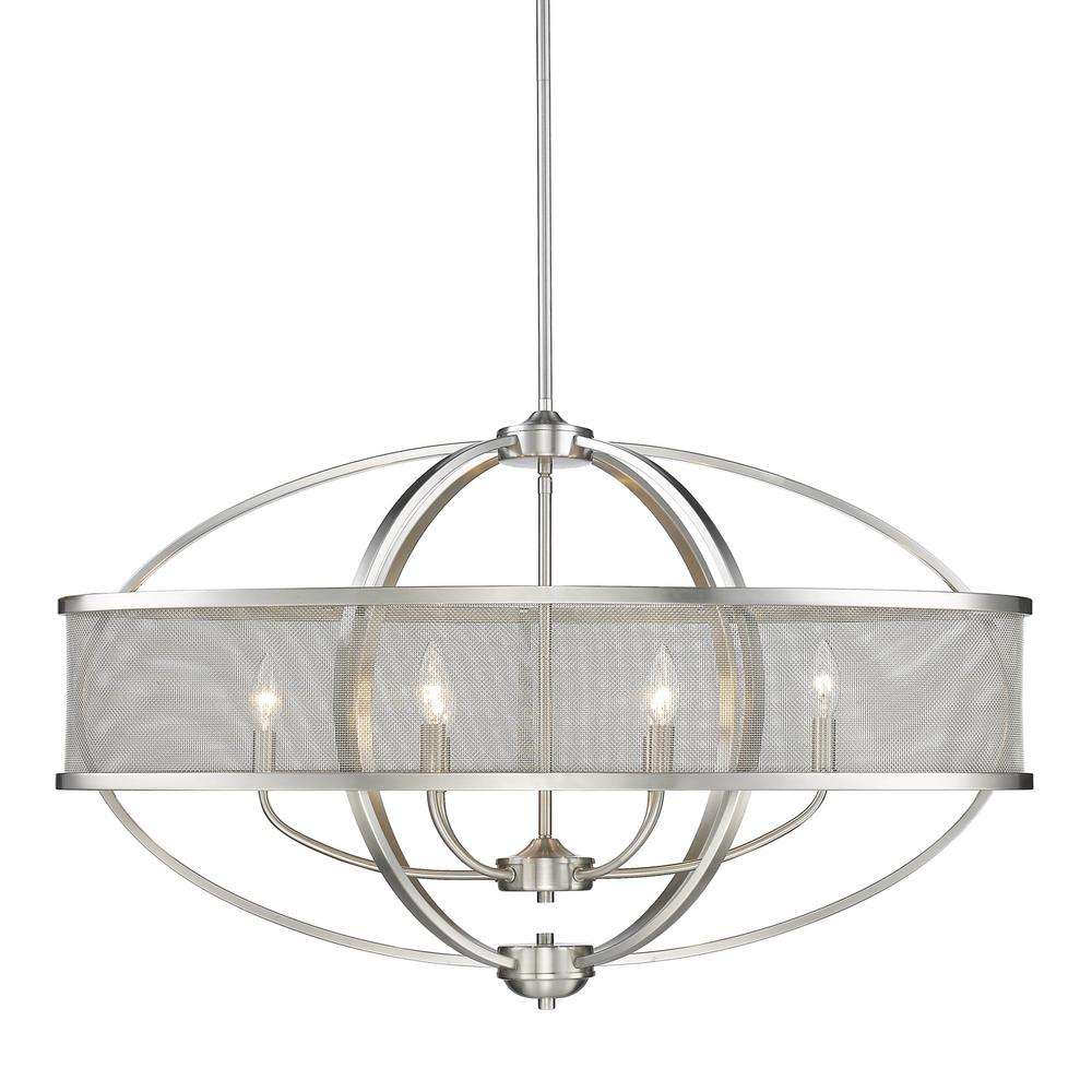 Golden Lighting Colson Pw 6 Light Pewter Pendant With Shade