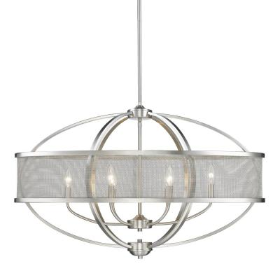 Colson PW 6-Light Pewter Pendant with Shade