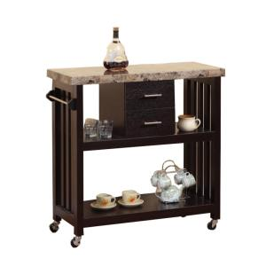 Contemporary Style Dark Brown Kitchen Cart With Faux Marble Top And 2 Drawers