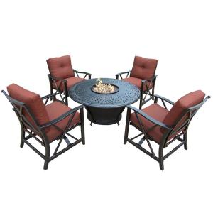 7-Piece Aluminum Patio Fire Pit Conversation Set with Red Cushions