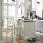 Home Styles Seaside Lodge Hand Rubbed White Kitchen Island and 2 Stools with Quartz Stone Top