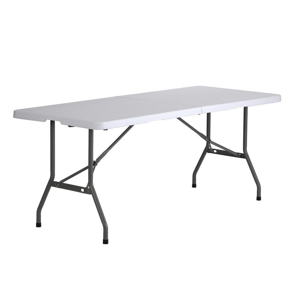 Muscle Rack 72 in. White Plastic Portable Folding Banquet Table