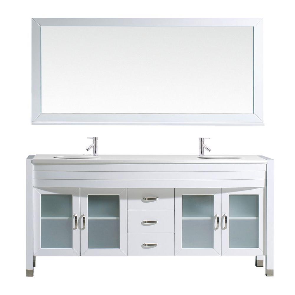 Virtu USA Ava 71 inch W x 21.7 inch D Vanity in White with Stone Vanity Top in White with White Basin and Mirror by Virtu USA