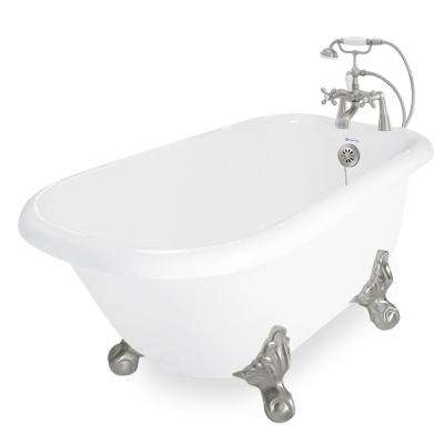 60 in. AcraStone Acrylic Classic Clawfoot Non-Whirlpool Bathtub in White with Large Ball Clawfeet Faucet in Satin Nickel
