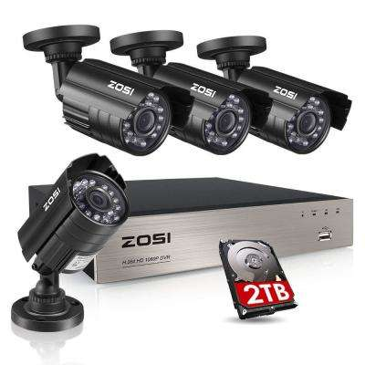 8-Channel 1080p 2TB DVR Security Camera System with 4 Wired Bullet Cameras