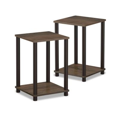 Hadyn 20 in. Walnut Simple End Table (2-Set)