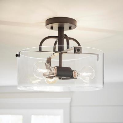 3-Light Bronze Semi-Flush Mount with Clear Glass Shade
