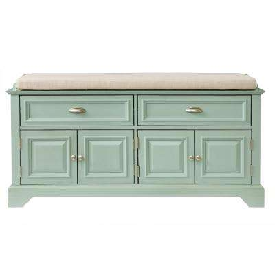 Sadie Antique Blue 2 Drawer Storage Bench with Cabinets