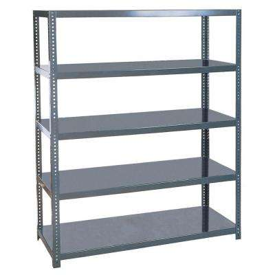 96 in. H x 60 in. W x 24 in. D 5-Shelves Steel Commercial Free Standing Shelves Unit in Gray